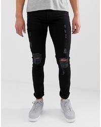 Мужские черные рваные зауженные джинсы от Bolongaro Trevor