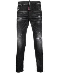 Мужские черные рваные зауженные джинсы от DSQUARED2