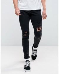 Мужские черные рваные зауженные джинсы от Jack & Jones