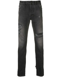 Мужские черные рваные зауженные джинсы от Marcelo Burlon County of Milan