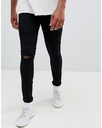 Мужские черные рваные зауженные джинсы от New Look