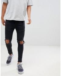 Мужские черные рваные зауженные джинсы от Night Addict