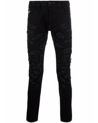 Мужские черные рваные зауженные джинсы от Philipp Plein