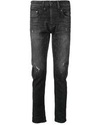 Мужские черные рваные зауженные джинсы от R13