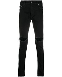 Мужские черные рваные зауженные джинсы от Represent