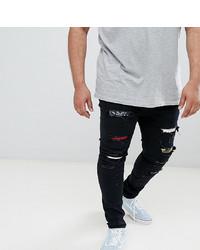 Мужские черные рваные зауженные джинсы от Sixth June
