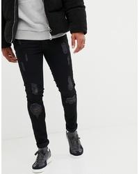 Мужские черные рваные зауженные джинсы от Voi Jeans