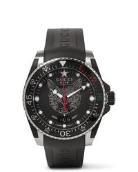 Мужские черные резиновые часы от Gucci
