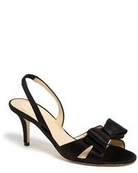 Черные сатиновые босоножки на каблуке