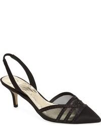 Черные сатиновые туфли с украшением