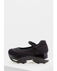 Черные туфли на танкетке из плотной ткани от Marni