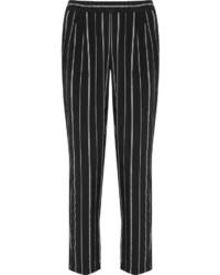 Черные узкие брюки в вертикальную полоску