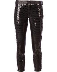 Черные узкие брюки с пайетками