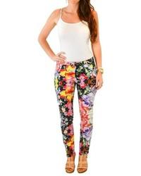 Черные узкие брюки с цветочным принтом