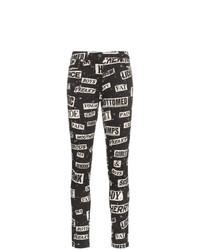 Черные хлопковые джинсы скинни с принтом от Moschino
