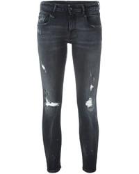 Женские черные хлопковые рваные джинсы скинни от R 13
