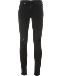 Женские черные хлопковые рваные джинсы скинни от Rag & Bone