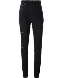 Женские черные хлопковые рваные джинсы скинни от Saint Laurent