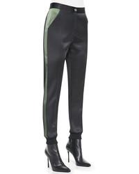 Черные шелковые узкие брюки