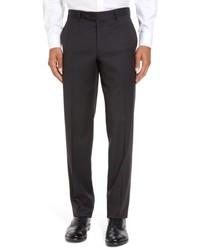 Черные шерстяные классические брюки в клетку