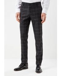 Мужские черные шерстяные классические брюки в клетку от BAWER