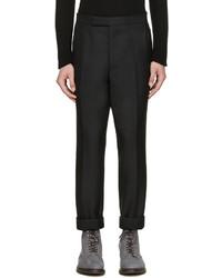 Мужские черные шерстяные классические брюки от Thom Browne