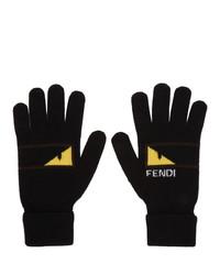 Мужские черные шерстяные перчатки от Fendi