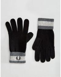 Мужские черные шерстяные перчатки от Fred Perry