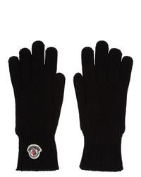 Мужские черные шерстяные перчатки от Moncler