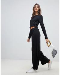Черные широкие брюки от Vila