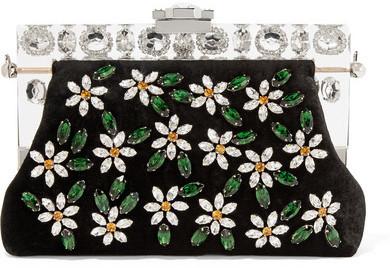 Черный бархатный клатч с украшением от Dolce & Gabbana