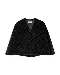 Черный бархатный пиджак-накидка от Gucci
