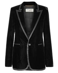Женский черный бархатный пиджак от Saint Laurent