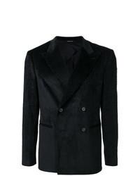 Черный вельветовый двубортный пиджак