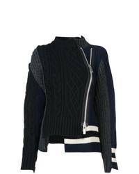 Женский черный вязаный свитер от Sacai