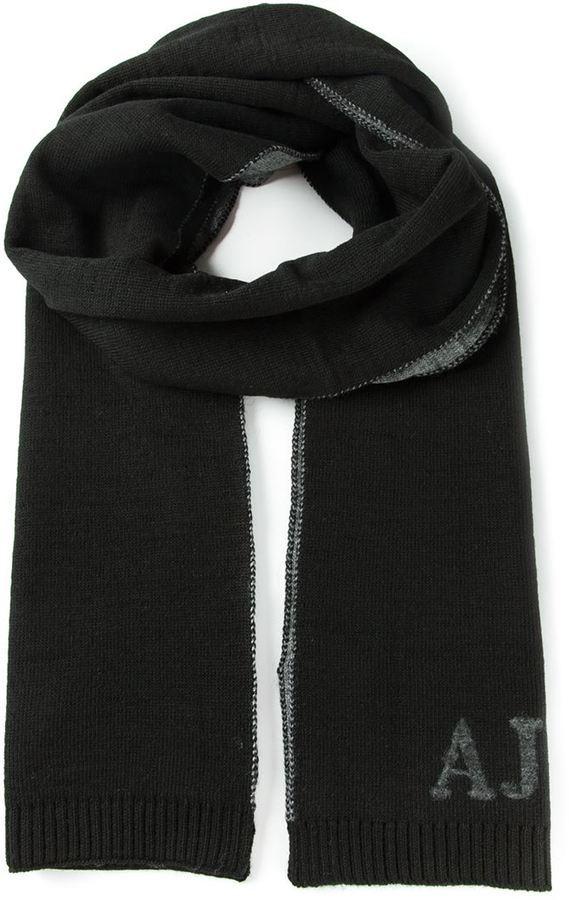 Мужской черный вязаный шарф от Armani Jeans   Где купить и с чем носить ea8ff7e547b