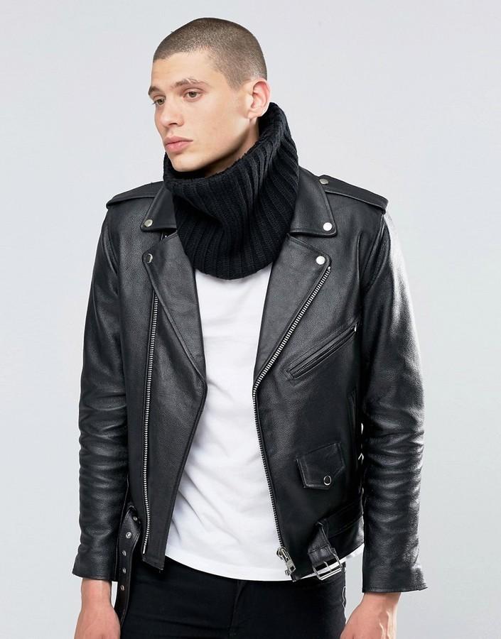 Мужской черный вязаный шарф от Asos   Где купить и с чем носить bfabb0aa11d