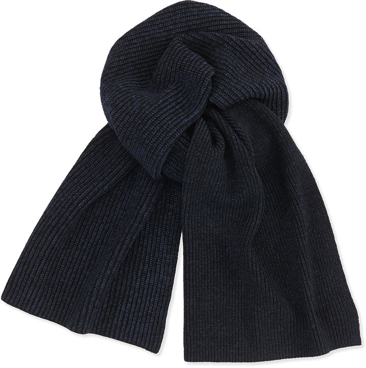 Мужской черный вязаный шарф от Theory   Где купить и с чем носить 7f4ec4ea50e