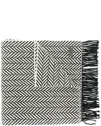 Мужской черный вязаный шарф от Saint Laurent