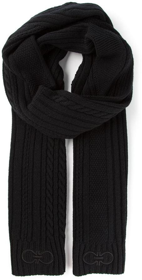 Мужской черный вязаный шарф от Salvatore Ferragamo   Где купить и с ... 79ed1c603d0