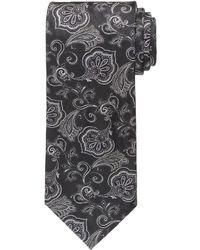Черный галстук с цветочным принтом