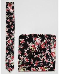 Мужской черный галстук с цветочным принтом от Asos