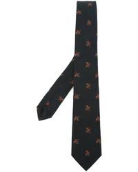 Мужской черный галстук с цветочным принтом от Givenchy