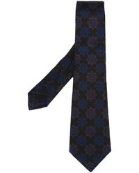 Мужской черный галстук с цветочным принтом от Kiton