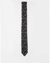Мужской черный галстук с цветочным принтом от Reclaimed Vintage