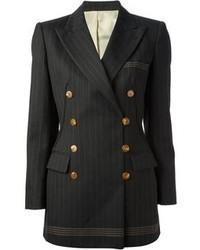 Черный двубортный пиджак в вертикальную полоску