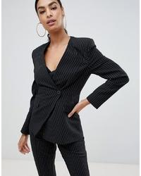 Женский черный двубортный пиджак в вертикальную полоску от ASOS DESIGN