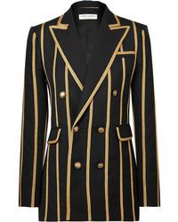 Женский черный двубортный пиджак в вертикальную полоску от Saint Laurent