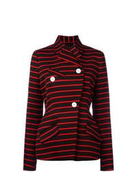 Женский черный двубортный пиджак в горизонтальную полоску от Proenza Schouler