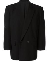 Мужской черный двубортный пиджак